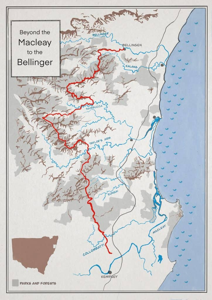 Map of walk from the Macleay to Bellingen