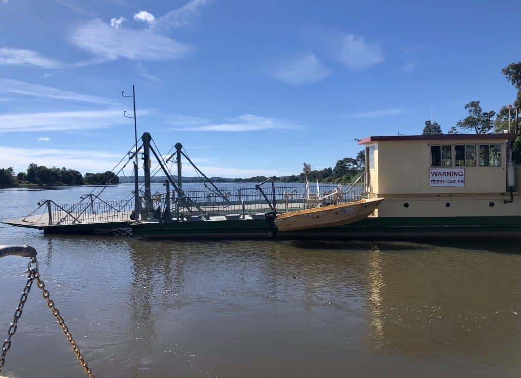Bluff Point ferry across the Clarence River at Lawrence