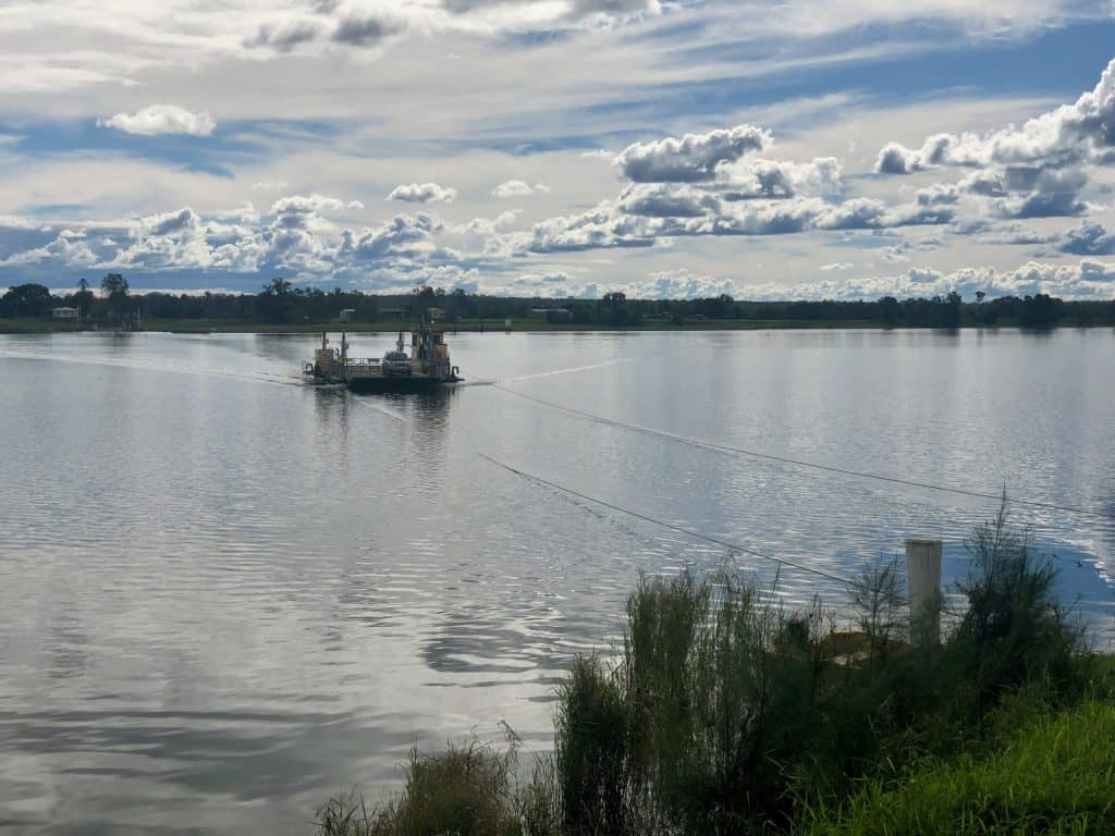Southgate ferry on Clarence River, near Ulmurra