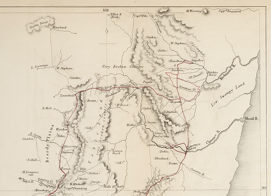 Sketch Map of Capt Hamilton's Route 1844, showing the Clarence and Richmond Rivers